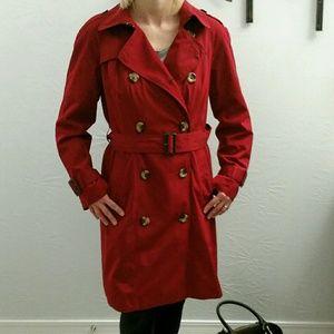 London fog, cherry red trench coat